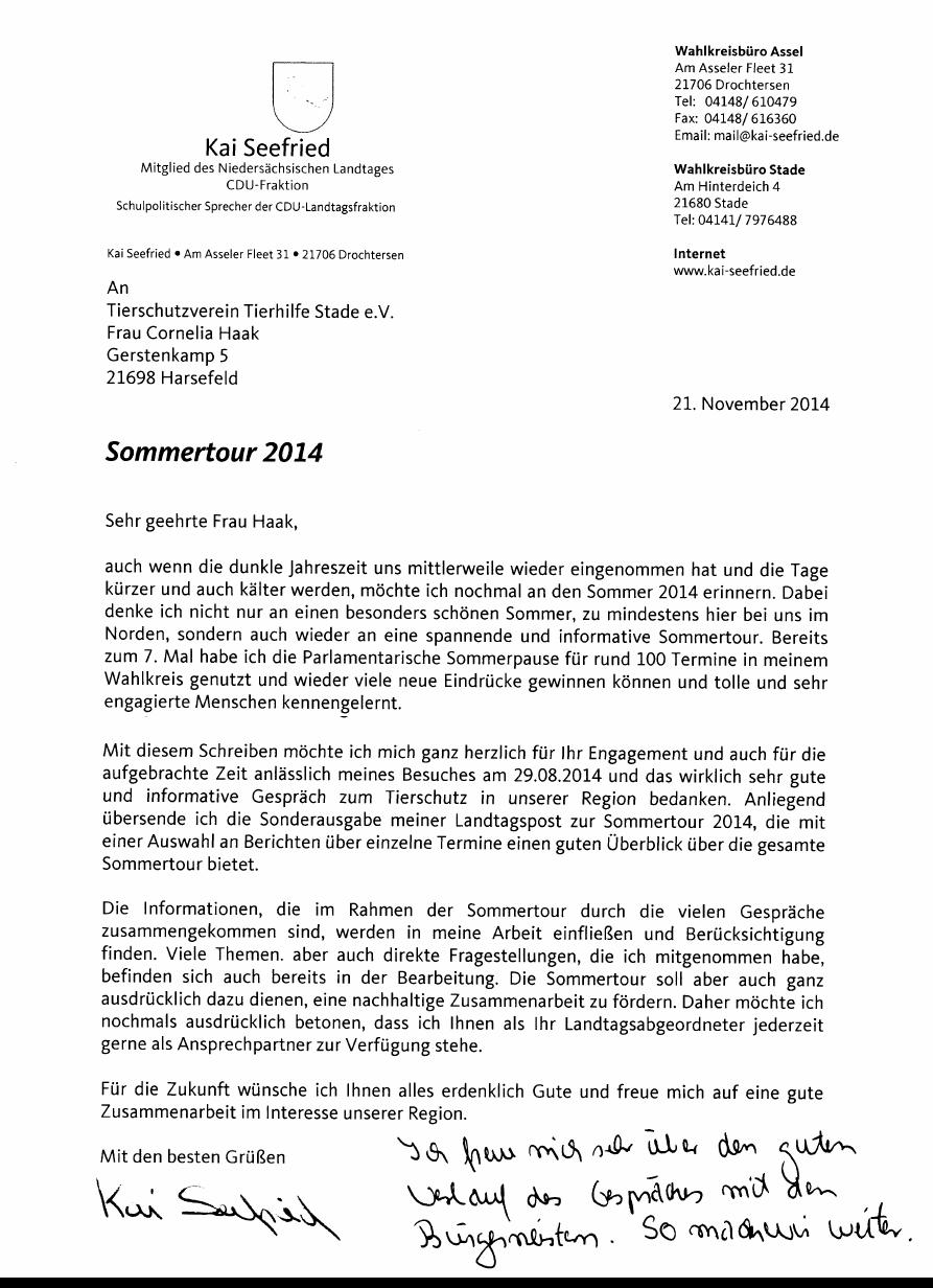 Brief Für Zusammenarbeit : Initiative katzenschutz nils